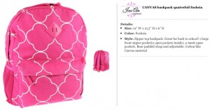 Quatrefoil Canvas Fuschia Backpack