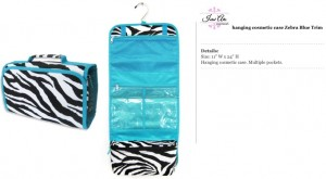 Zebra Blue Hanging Travel Bag