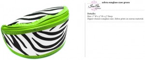 Zebra Green Sunglass Case
