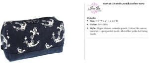 Anchor Canvas Cosmetic Pouch