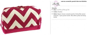 Chevron Canvas Fuchsia Cosmetic Pouch