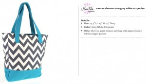 Chevron Canvas Grey & Turqoise Tote