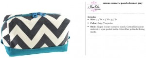 Chevron Canvas Grey & Turqoise Cosmetic Pouch