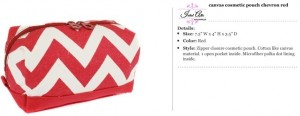 Chevron Canvas Red Cosmetic Pouch