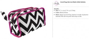 Chevron Black & Fuchsia Travel Bag