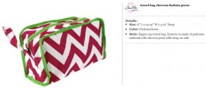 Chevron Fuchsia & Green Travel Bag