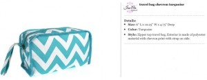Chevron Turqoise Travel Bag