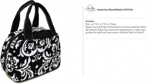 Floral Canvas Black Lunch Bag