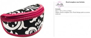 Floral Canvas Black & Fuchsia Sunglass Case