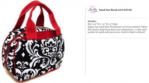 Floral Canvas Black & Red Lunch Bag