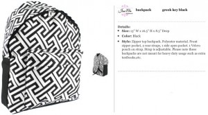 Greek Key Black Backpack