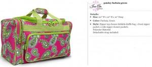 Paisley Fuchsia & Green Duffle Bag