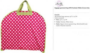 Polkadot Fuchsia & Green Garment Bag