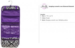 Floral Black & Purple Hanging Travel Bag