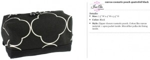 Quatrefoil Canvas Black Cosmetic Pouch