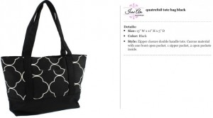 Quatrefoil Canvas Black Tote