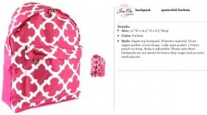Quatrefoil Fuchsia Backpack