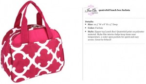 Quatrefoil Fuchsia Lunch Bag