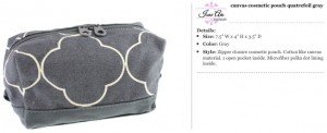 Quatrefoil Canvas Grey Cosmetic Pouch