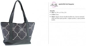 Quatrefoil Canvas Grey Tote