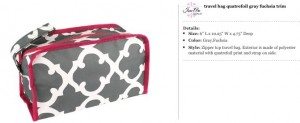 Quatrefoil Grey Fuchsia Travel Bag