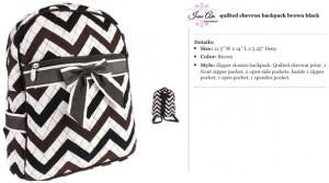 Quilted Chevron Backpack brown black