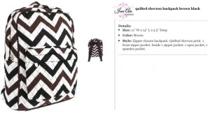 Quilted Chevron Backpack brown black no ribbon