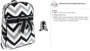 Quilted Chevron Backpack gray black