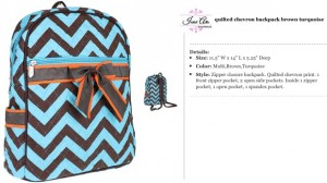 Quilted Chevron Backpack turquoise brown