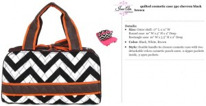 Quilted Chevron 3pc Cosmetic black brown orange