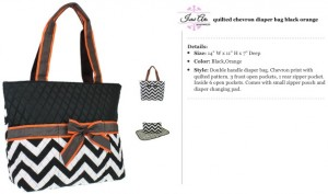 Quilted Chevron Diaper Bag black brown orange