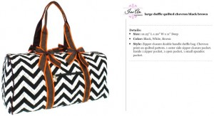 Quilted Chevron Duffle Large black brown orange