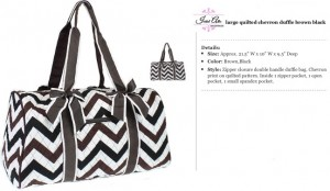 Quilted Chevron Duffle Large brown black