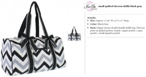 Quilted Chevron Duffle Small gray black