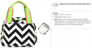 Quilted Chevron Black, Lime & Fuchsia Lunch Bag