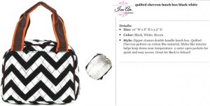 Quilted Chevron Lunch Bag black brown orange