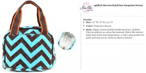 Quilted Chevron Lunch Bag turquoise brown