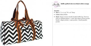 Quilted Chevron Duffle Small black brown orange
