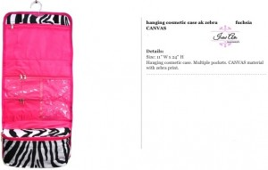 Zebra Black & Fuchsia Hanging Travel Bag