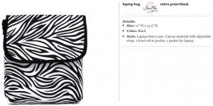 Zebra Black Laptop Carrier