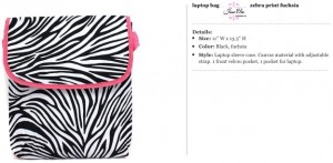 Zebra Black & Pink Laptop Carrier